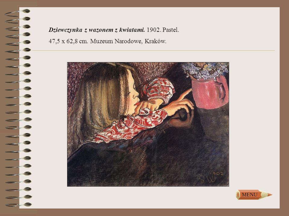 Dziewczynka z wazonem z kwiatami. 1902. Pastel.