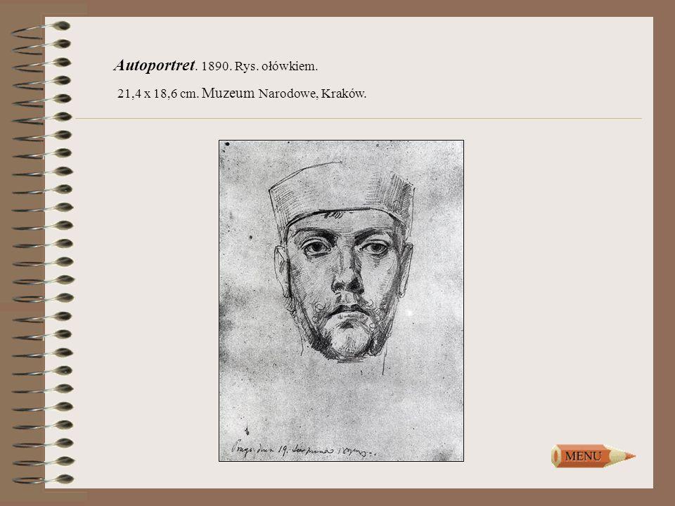 Autoportret. 1890. Rys. ołówkiem.