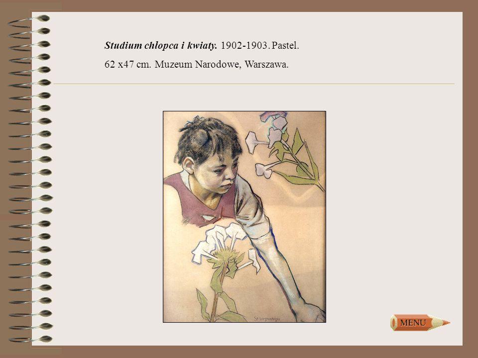 Studium chłopca i kwiaty. 1902-1903. Pastel.