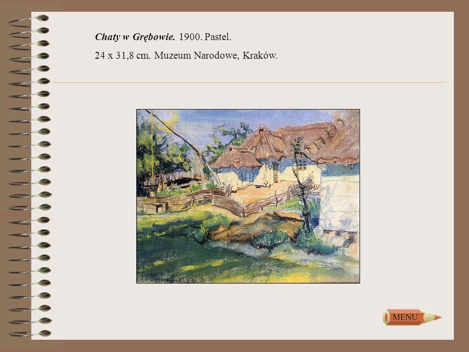 Chaty w Grębowie. 1900. Pastel.