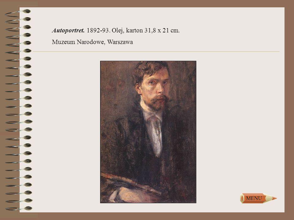 Autoportret. 1892-93. Olej, karton 31,8 x 21 cm.