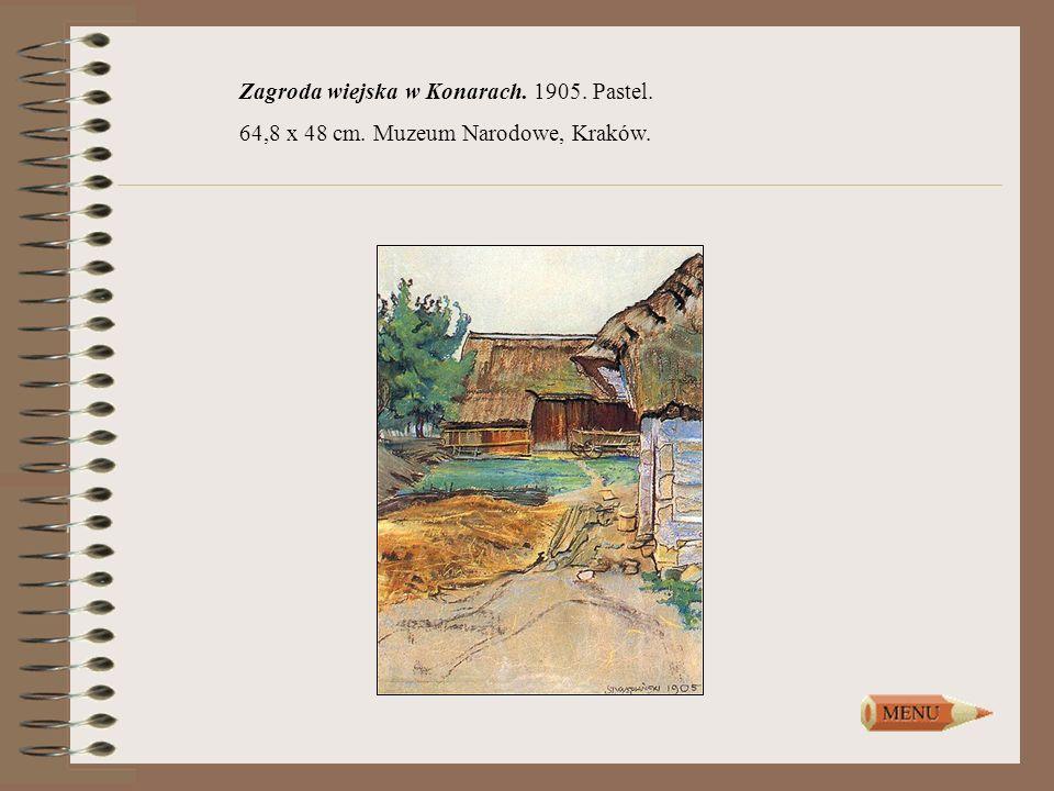 Zagroda wiejska w Konarach. 1905. Pastel.