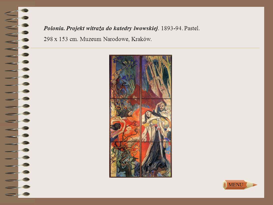 Polonia. Projekt witraża do katedry lwowskiej. 1893-94. Pastel.