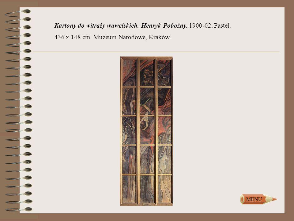 Kartony do witraży wawelskich. Henryk Pobożny. 1900-02. Pastel.