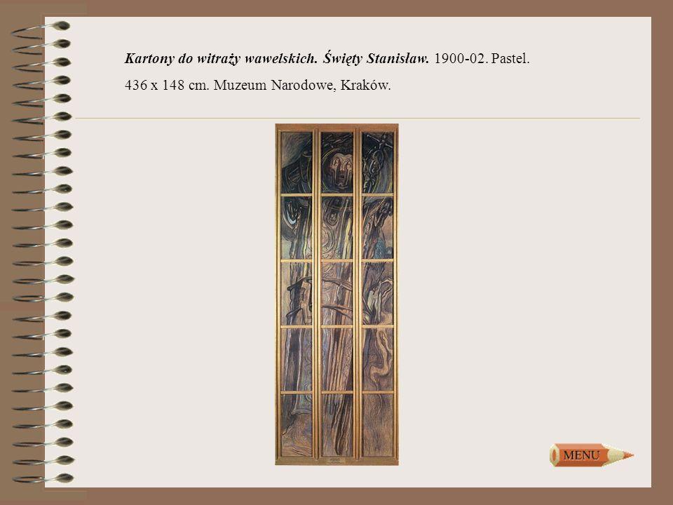 Kartony do witraży wawelskich. Święty Stanisław. 1900-02. Pastel.