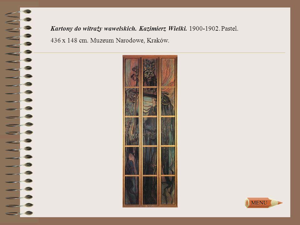 Kartony do witraży wawelskich. Kazimierz Wielki. 1900-1902. Pastel.