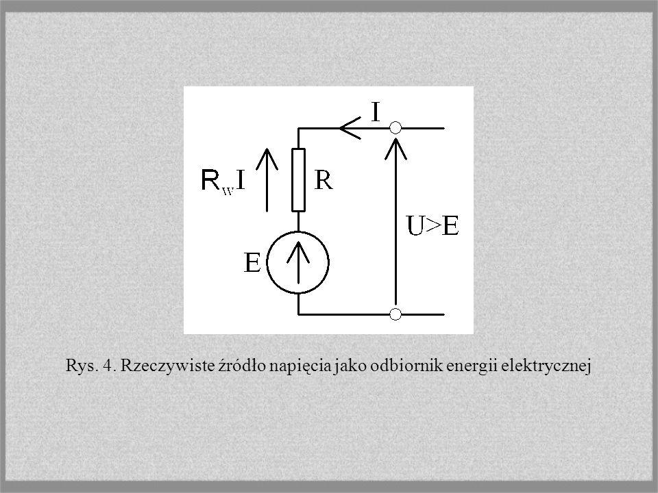 Rys. 4. Rzeczywiste źródło napięcia jako odbiornik energii elektrycznej