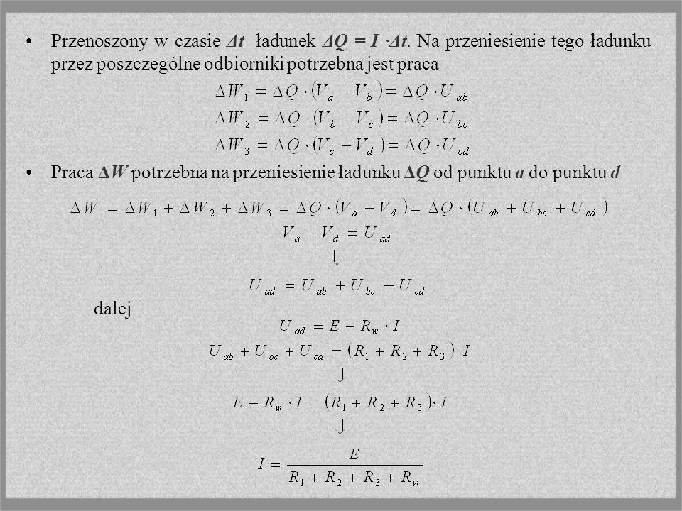 Przenoszony w czasie Δt ładunek ΔQ = I ·Δt