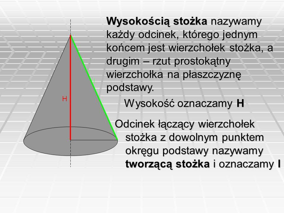 Wysokością stożka nazywamy każdy odcinek, którego jednym końcem jest wierzchołek stożka, a drugim – rzut prostokątny wierzchołka na płaszczyznę podstawy.