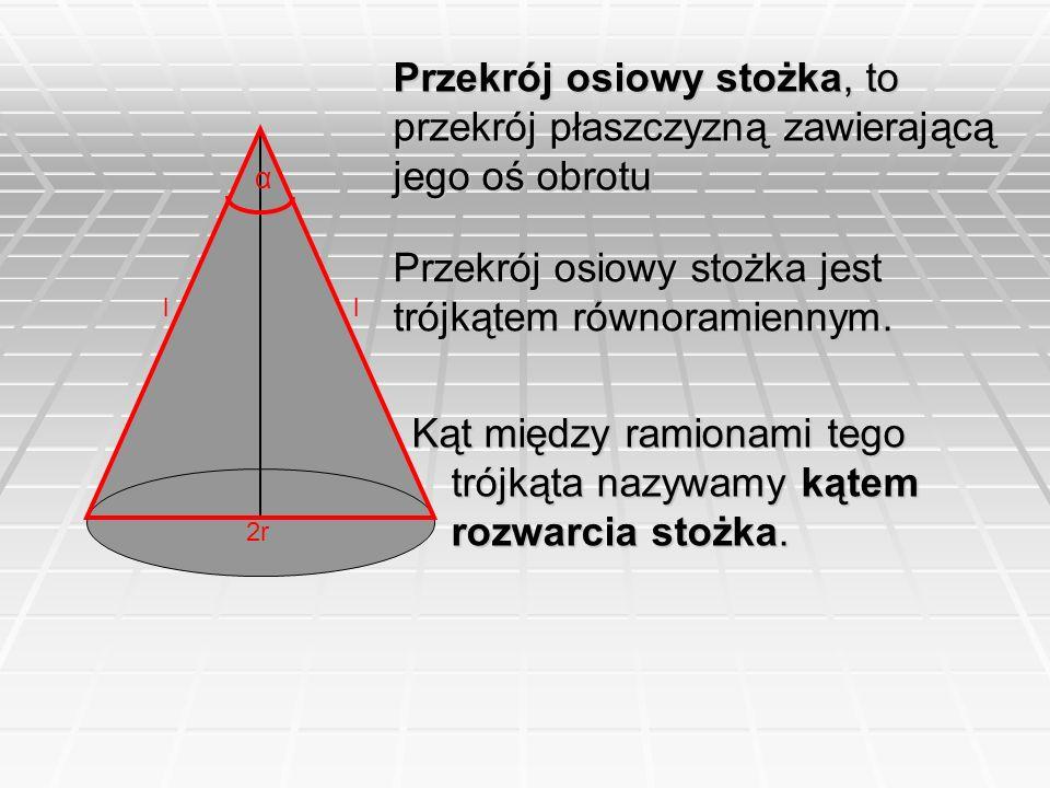 Przekrój osiowy stożka jest trójkątem równoramiennym.