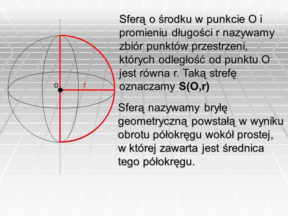 Sferą o środku w punkcie O i promieniu długości r nazywamy zbiór punktów przestrzeni, których odległość od punktu O jest równa r. Taką strefę oznaczamy S(O,r)