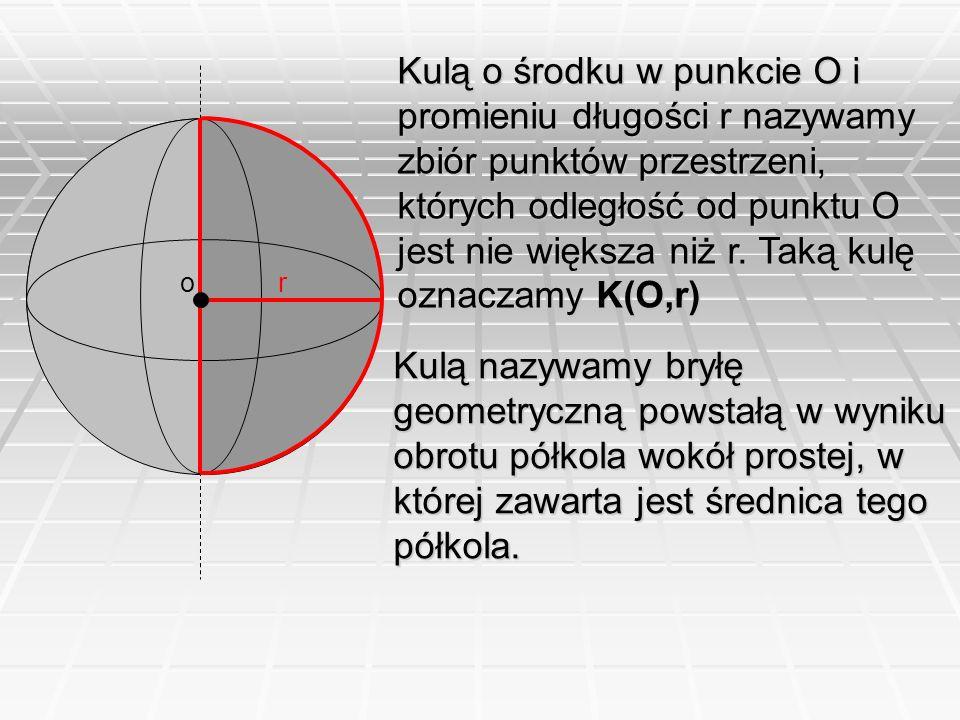 Kulą o środku w punkcie O i promieniu długości r nazywamy zbiór punktów przestrzeni, których odległość od punktu O jest nie większa niż r. Taką kulę oznaczamy K(O,r)