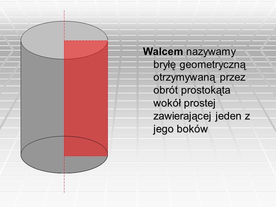 Walcem nazywamy bryłę geometryczną otrzymywaną przez obrót prostokąta wokół prostej zawierającej jeden z jego boków