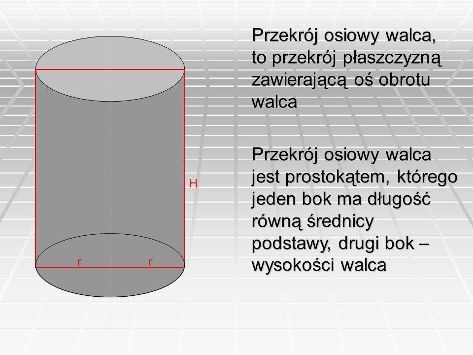 Przekrój osiowy walca, to przekrój płaszczyzną zawierającą oś obrotu walca