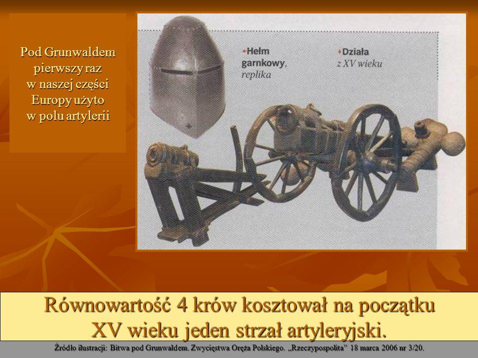 Pod Grunwaldem pierwszy raz w naszej części Europy użyto w polu artylerii