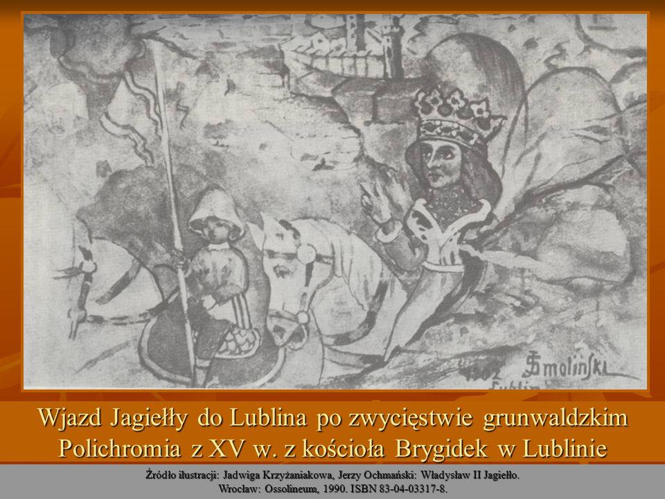 Wjazd Jagiełły do Lublina po zwycięstwie grunwaldzkim Polichromia z XV w. z kościoła Brygidek w Lublinie