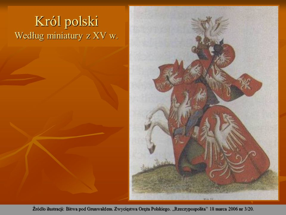 Król polski Według miniatury z XV w.