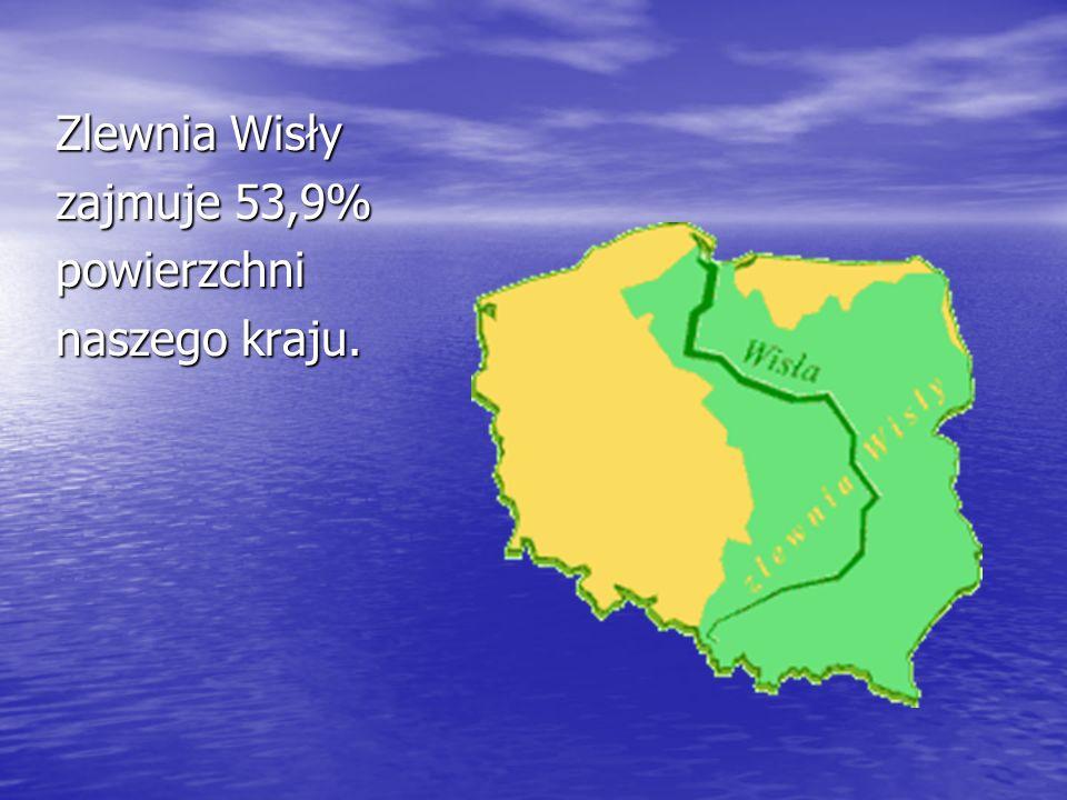 Zlewnia Wisły zajmuje 53,9% powierzchni naszego kraju.