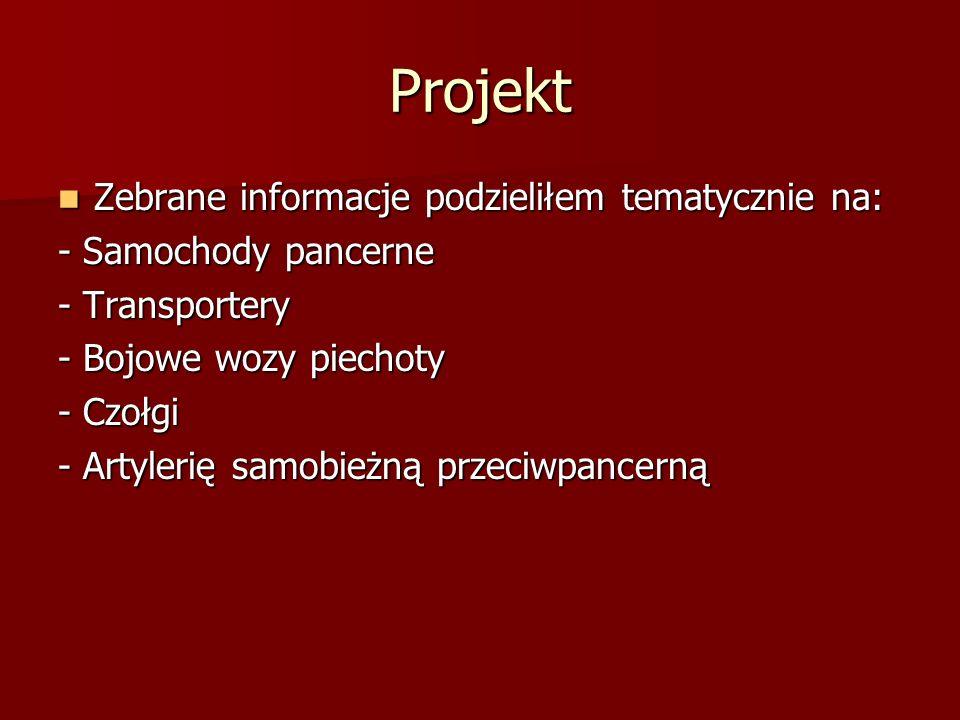 Projekt Zebrane informacje podzieliłem tematycznie na: