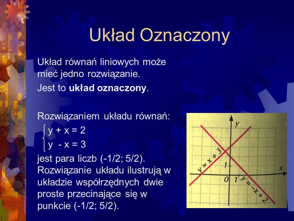 Układ Oznaczony Układ równań liniowych może mieć jedno rozwiązanie.