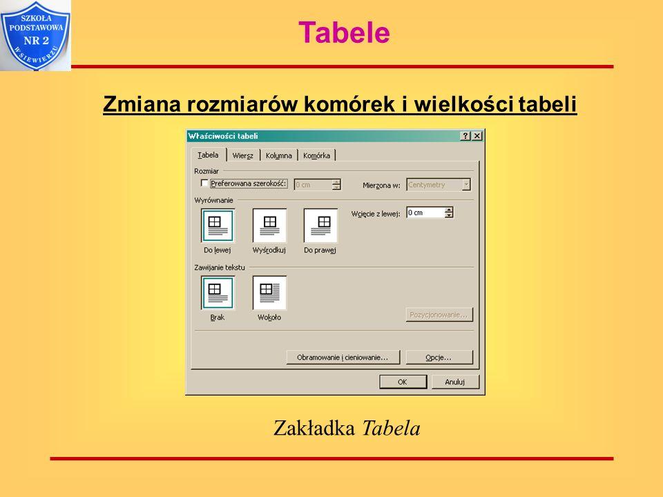 Tabele Zmiana rozmiarów komórek i wielkości tabeli Zakładka Tabela