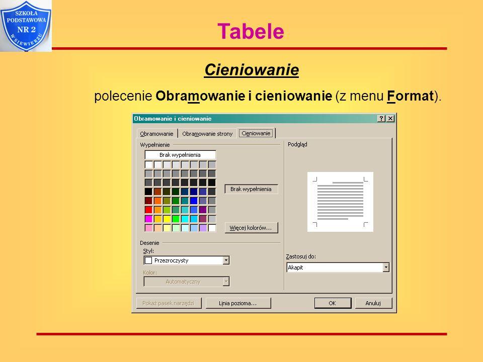Tabele Cieniowanie polecenie Obramowanie i cieniowanie (z menu Format).