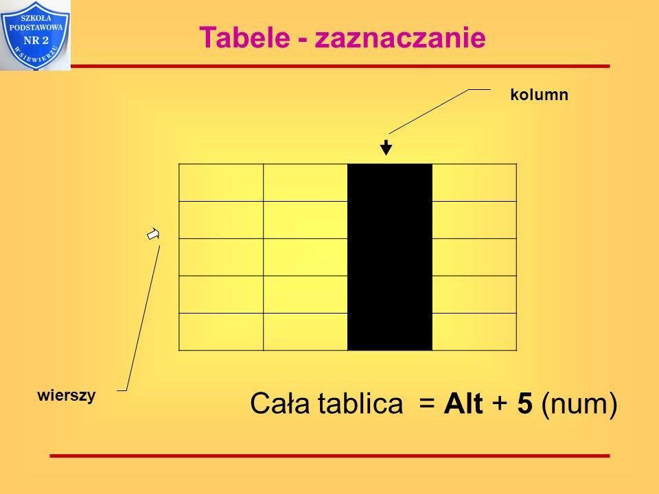 Cała tablica = Alt + 5 (num)