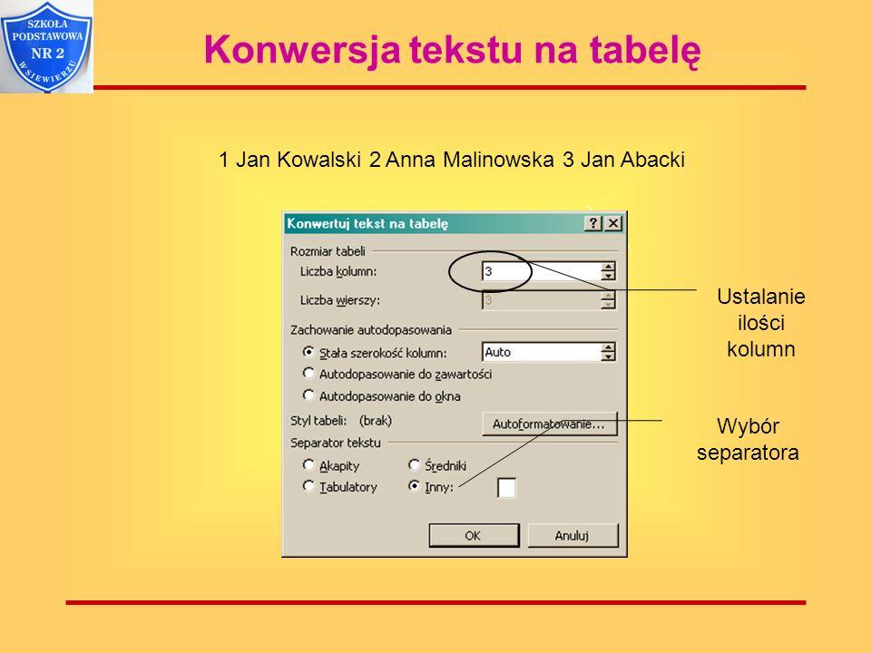 Konwersja tekstu na tabelę