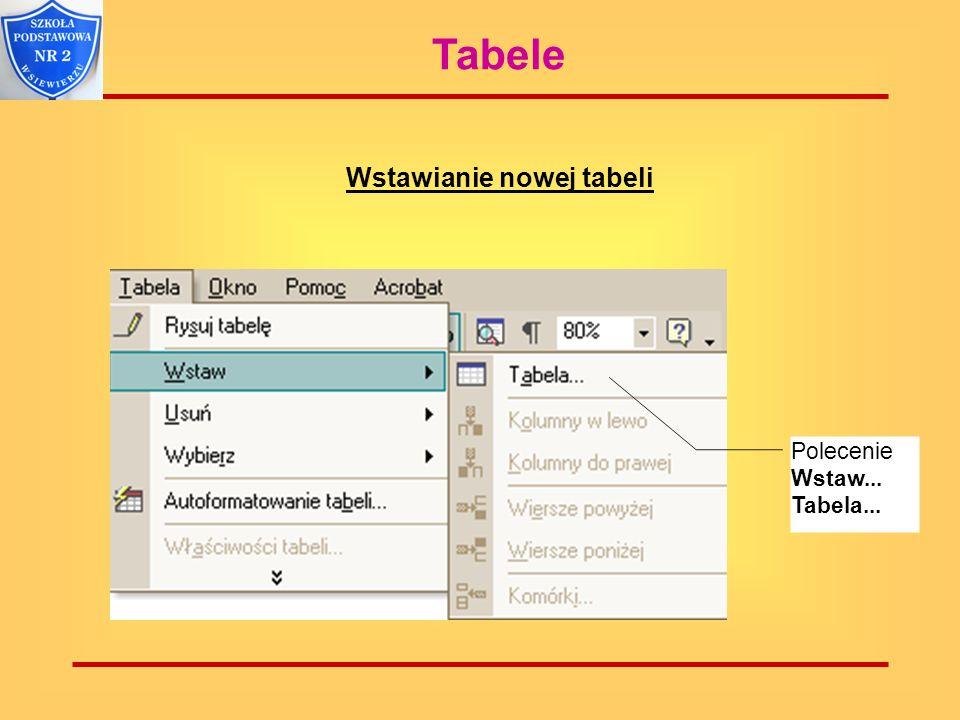 Tabele Wstawianie nowej tabeli Polecenie Wstaw... Tabela...