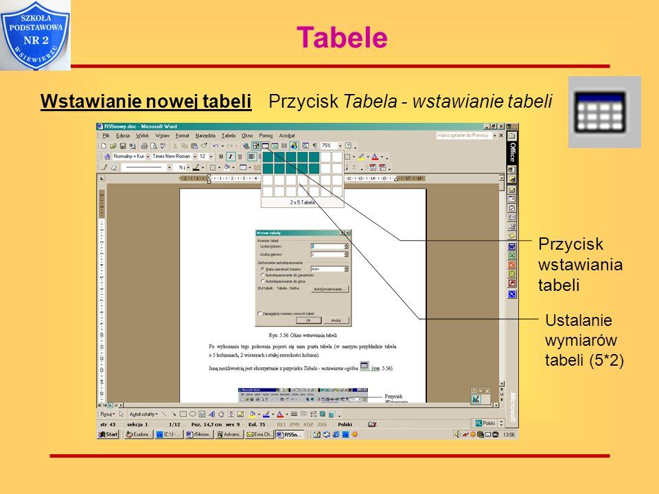 Tabele Wstawianie nowej tabeli Przycisk Tabela - wstawianie tabeli