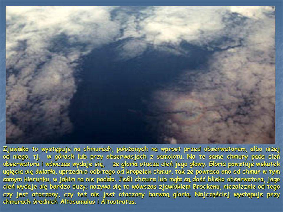 Zjawisko to występuje na chmurach, położonych na wprost przed obserwatorem, albo niżej od niego, tj.