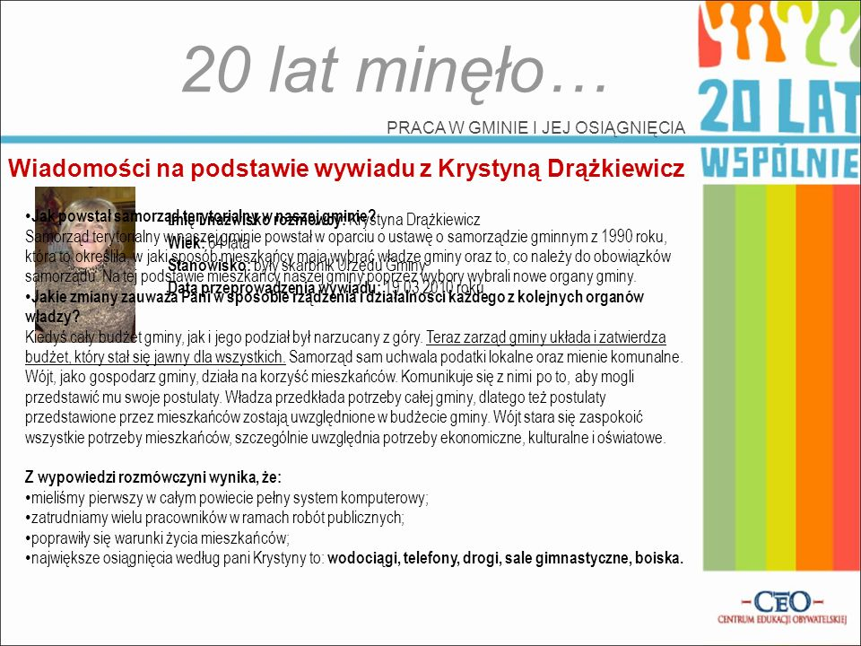 20 lat minęło… Wiadomości na podstawie wywiadu z Krystyną Drążkiewicz