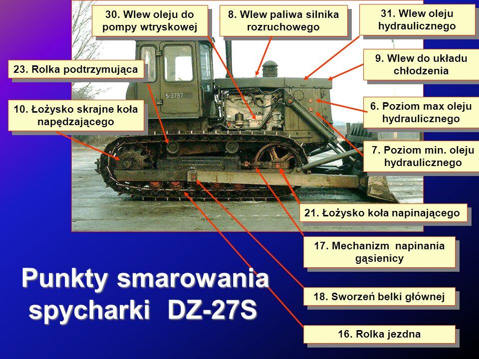Punkty smarowania spycharki DZ-27S 30. Wlew oleju do pompy wtryskowej