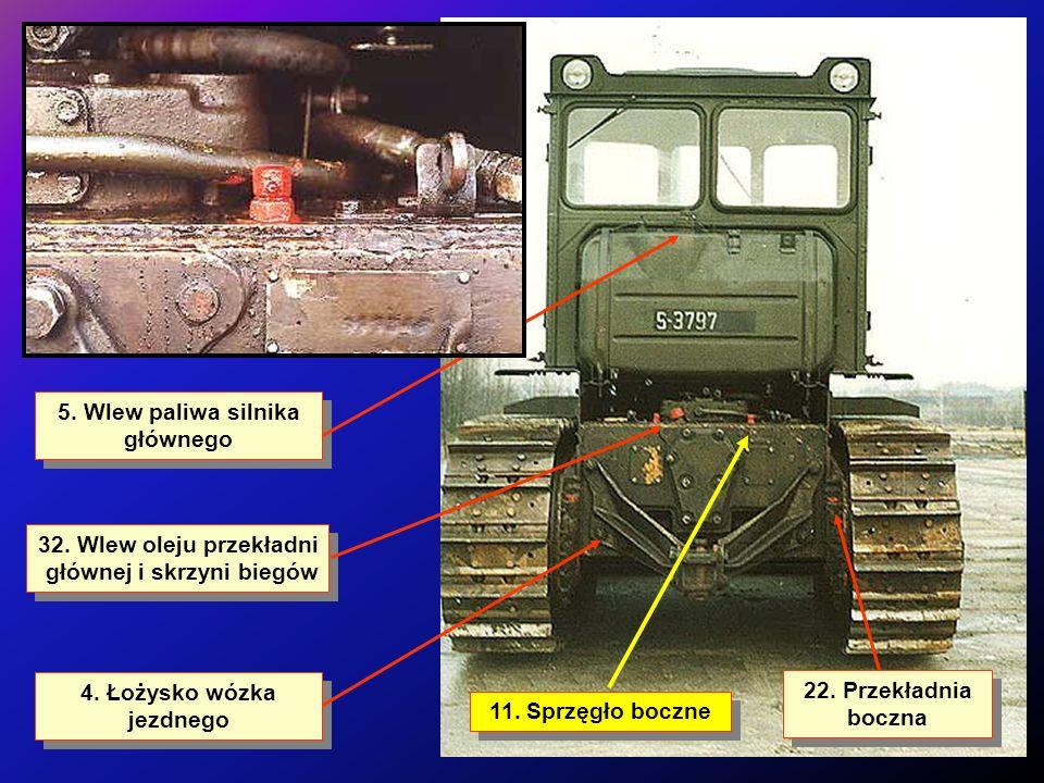 5. Wlew paliwa silnika głównego 4. Łożysko wózka jezdnego