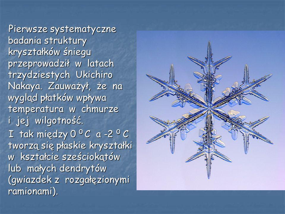 Pierwsze systematyczne badania struktury kryształków śniegu przeprowadził w latach trzydziestych Ukichiro Nakaya. Zauważył, że na wygląd płatków wpływa temperatura w chmurze i jej wilgotność.