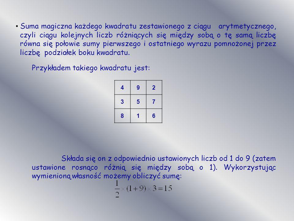 Przykładem takiego kwadratu jest: