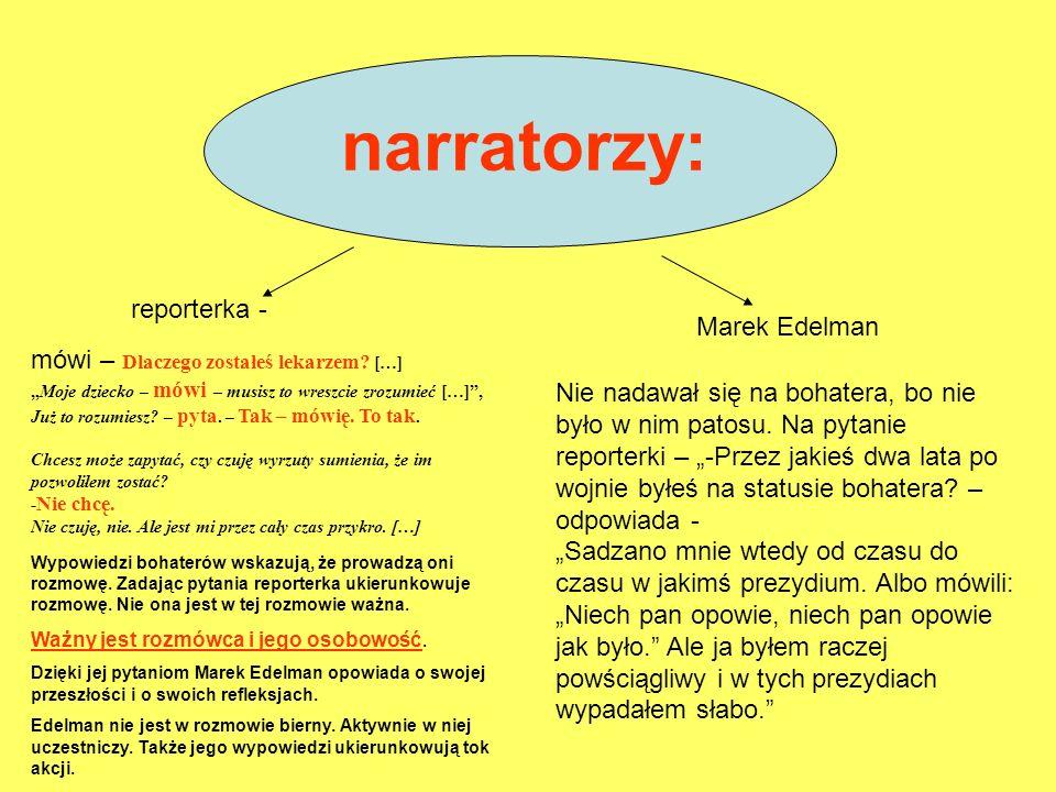narratorzy: reporterka - Marek Edelman