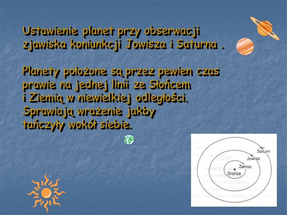 Ustawienie planet przy obserwacji zjawiska koniunkcji Jowisza i Saturna .