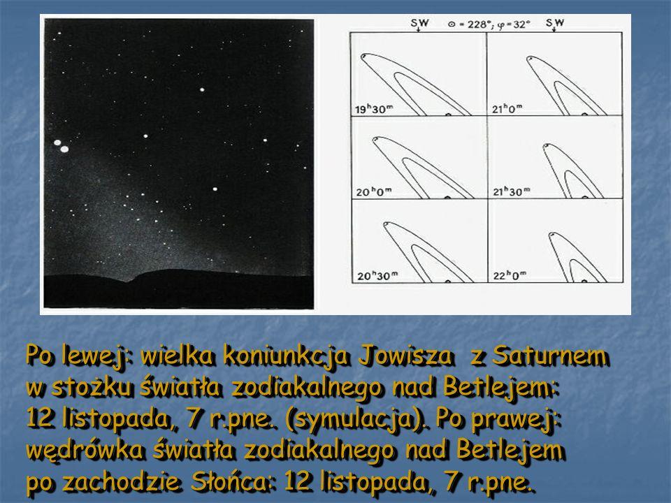 Po lewej: wielka koniunkcja Jowisza z Saturnem w stożku światła zodiakalnego nad Betlejem: 12 listopada, 7 r.pne.