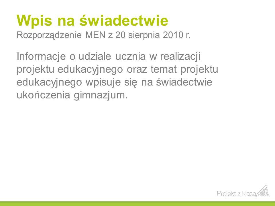 Wpis na świadectwie Rozporządzenie MEN z 20 sierpnia 2010 r.
