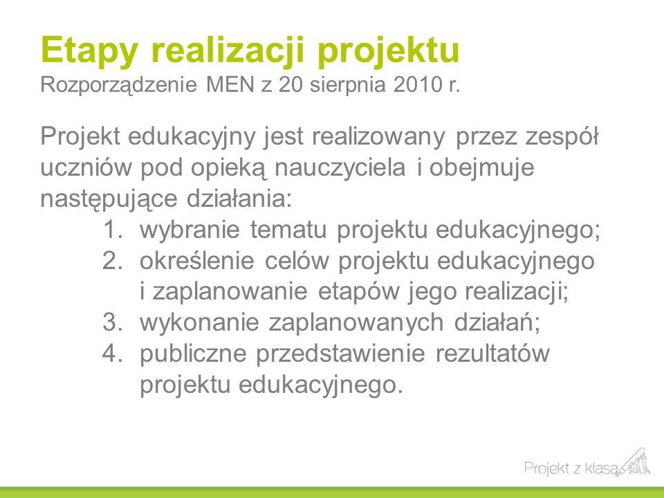 Etapy realizacji projektu Rozporządzenie MEN z 20 sierpnia 2010 r.