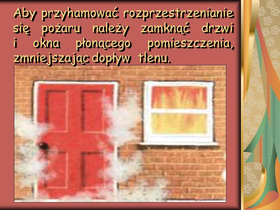 Aby przyhamować rozprzestrzenianie się pożaru należy zamknąć drzwi i okna płonącego pomieszczenia, zmniejszając dopływ tlenu.