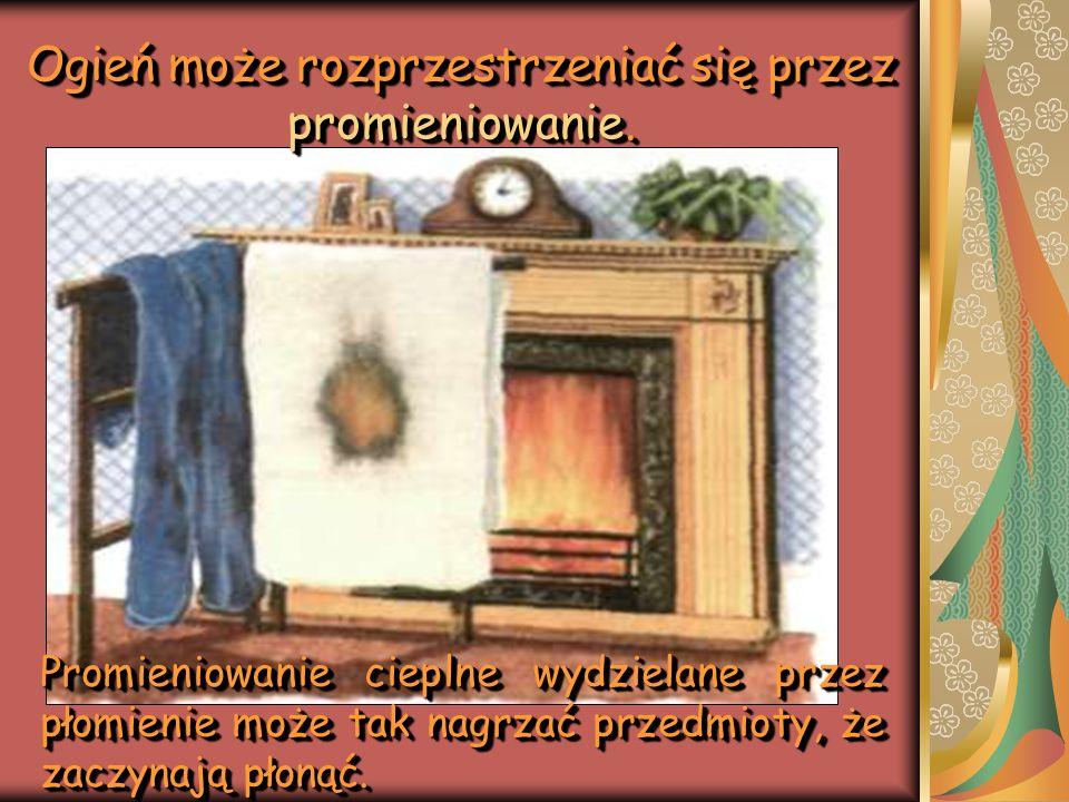 Ogień może rozprzestrzeniać się przez promieniowanie.