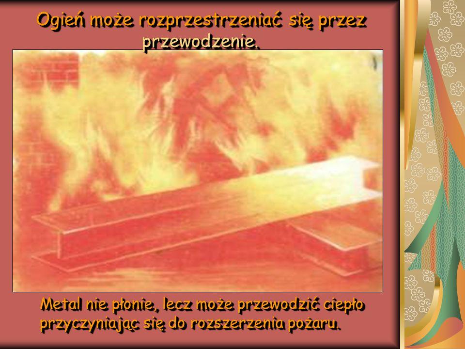 Ogień może rozprzestrzeniać się przez przewodzenie.