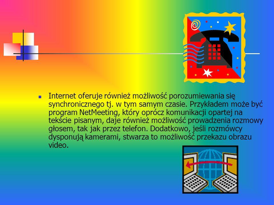 Internet oferuje również możliwość porozumiewania się synchronicznego tj.