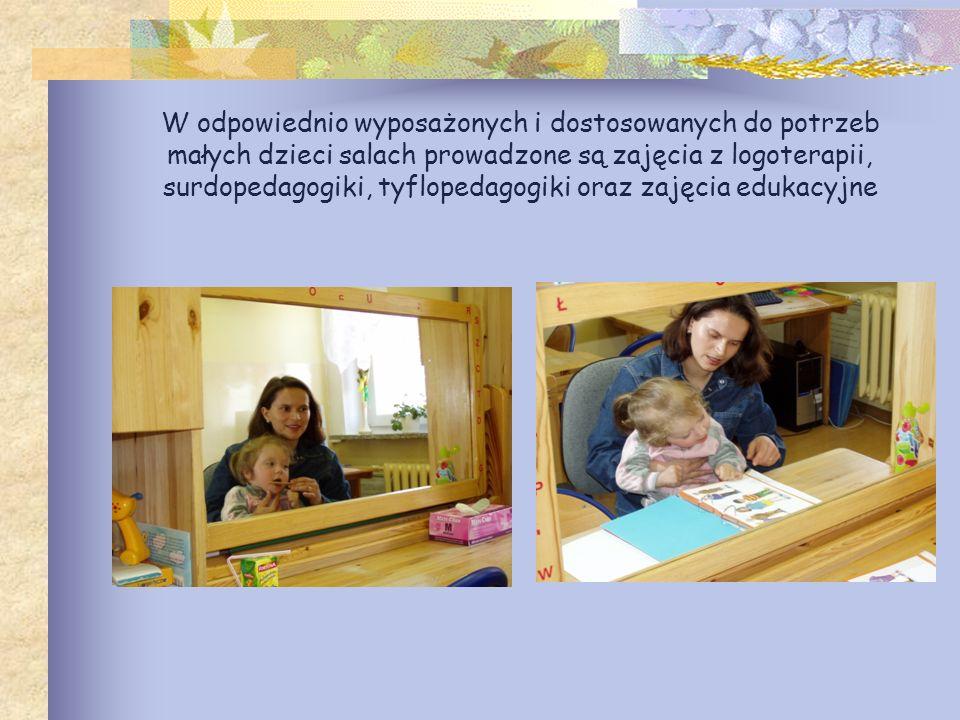 W odpowiednio wyposażonych i dostosowanych do potrzeb małych dzieci salach prowadzone są zajęcia z logoterapii, surdopedagogiki, tyflopedagogiki oraz zajęcia edukacyjne