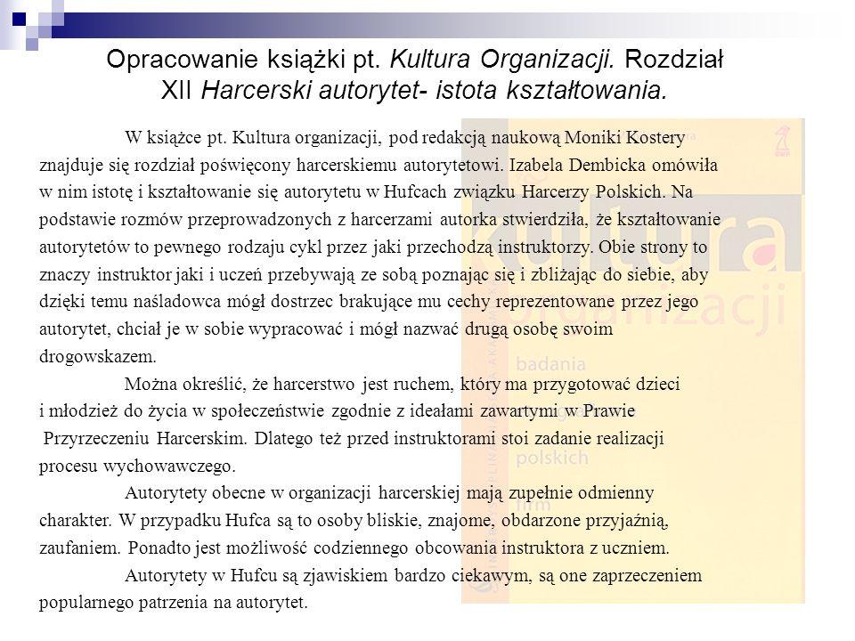 Opracowanie książki pt. Kultura Organizacji
