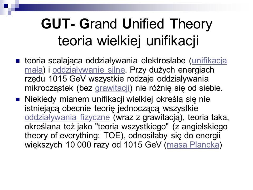 GUT- Grand Unified Theory teoria wielkiej unifikacji