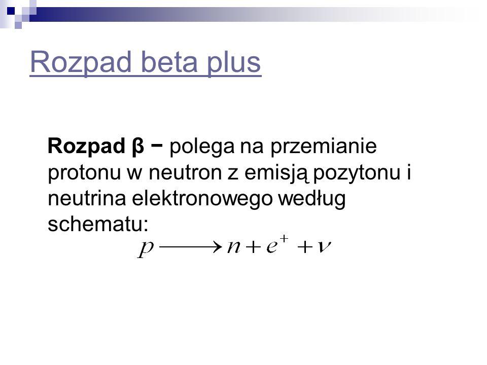 Rozpad beta plus Rozpad β − polega na przemianie protonu w neutron z emisją pozytonu i neutrina elektronowego według schematu: