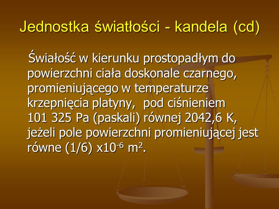 Jednostka światłości - kandela (cd)